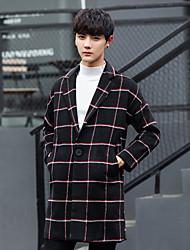 Недорогие -Для мужчин Повседневные Зима Осень Пальто V-образный вырез,Уличный стиль Гусиная лапка Длинная Длинный рукав,Шерсть Полиэстер