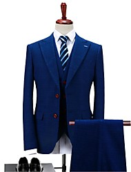 cheap -Blue Plaid/Checkered Standard Fit Polyester Suit - Peak Single Breasted Two-buttons