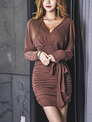 cheap -Women's Going out Street chic Sheath Dress,Solid V Neck Above Knee Long Sleeve Polyester Fall Mid Rise Stretchy Thick