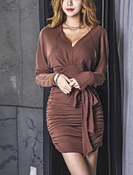 abordables -Gaine Robe Femme Sortie Chic de Rue,Couleur Pleine Col en V Au dessus du genou Manches longues Polyester Automne Taille Normale Elastique
