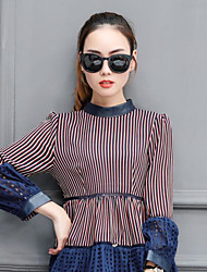 cheap -Women's Daily Wear Vintage Shirt,Striped Crew Neck Long Sleeves Cotton