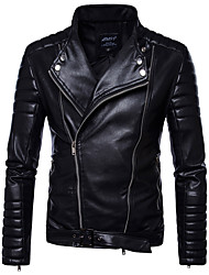 cheap -Men's Punk & Gothic Faux Leather Slim Jacket-Solid Colored Stand