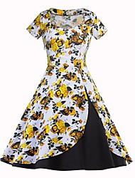 Недорогие -Жен. А-силуэт С летящей юбкой Платье С принтом Квадратный вырез