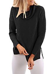 Standard Pullover Da donna-Per eventi Per uscire Tinta unita Dolcevita Manica lunga Poliestere Elastene Autunno Medio spessore