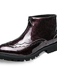 Недорогие -Муж. Fashion Boots Искусственная кожа Весна Удобная обувь Ботинки Для прогулок Черный / Красный