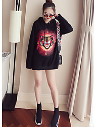 cheap -Women's Sports Going out Street chic Hoodie Solid Leopard Hooded Inelastic Cotton Long Sleeves Autumn/Fall
