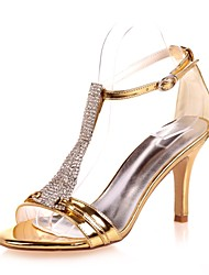 cheap -Women's Shoes Patent Leather Spring Summer Basic Pump Sandals Stiletto Heel Open Toe Rhinestone for Wedding Party & Evening Gold Silver