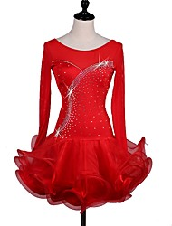 cheap -Latin Dance Dresses Women's Performance Spandex Crystals/Rhinestones Cascading Ruffles Long Sleeve Dress by Shall We®