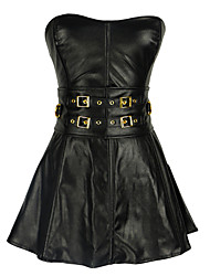 cheap -Europe palace girly corset PU leather skirt sexy Siamese performances Suit