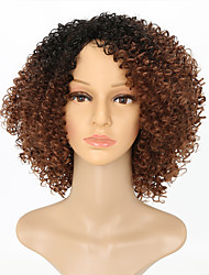 cheap -Synthetic Wig Kinky Curly Synthetic Hair Ombre Hair Brown Wig Women's Medium Length Capless