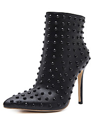Women's Shoes Leatherette Fall Winter Comfort Novelty Fashion Boots Bootie Combat Boots Boots Beading Rivet For Wedding Casual Black