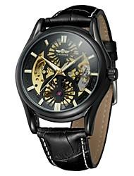 preiswerte -WINNER Herrn Automatikaufzug Armbanduhr Wasserdicht / Transparentes Ziffernblatt / Cool Echtes Leder Band Retro / Freizeit / Modisch