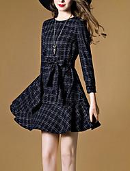 cheap -Women's Skater Dress - Check Print Mini
