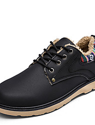 cheap -Men's Shoes Leatherette Winter Combat Boots Boots Walking Shoes Lace-up For Casual Outdoor Black Blue Camel