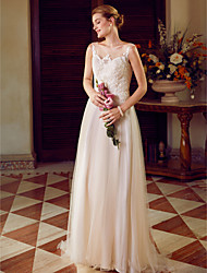 cheap -A-Line Princess Illusion Neckline Sweep / Brush Train Tulle Over Lace Custom Wedding Dresses with Appliques Draping by LAN TING BRIDE®