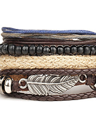 cheap -Men's Women's Leather Bracelet Wrap Bracelet Simple Vintage Leather Beads Leaf Wings / Feather Jewelry For Wedding Party Halloween