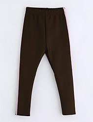 economico -Pantaloni Da ragazza Cotone A strisce Inverno Marrone