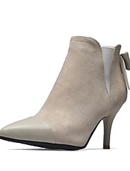 abordables -Femme Chaussures Similicuir Hiver Bottes à la Mode Bottes Talon Aiguille Bout pointu Bottine / Demi Botte Noeud Noir / Vert Véronèse /