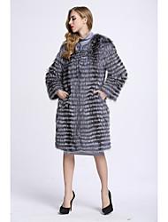 Feminino Casaco de Pêlo Para Noite Simples Inverno,Sólido Padrão Pêlo de Raposa Manga Longa