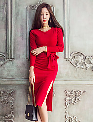 cheap -Women's Daily Casual Sheath Dress,Solid Round Neck Knee-length Long Sleeve Others Winter Fall Mid Rise Micro-elastic Opaque