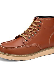 cheap -Men's Shoes Cowhide Nappa Leather Winter Comfort Boots Lace-up For Casual Wine Brown Black