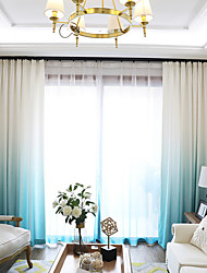 cheap -Grommet Top Double Pleat Pencil Pleat Curtain Modern , Printed Solid Damask Living Room Polyester Blend Material Blackout Curtains Drapes