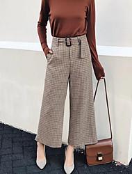 cheap -Women's Mid Rise Micro-elastic Wide Leg Pants,Casual Geometric Fall