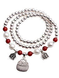 cheap -Women's Pearl Charm Bracelet Strand Bracelet - Asian Casual Circle Silver Bracelet For Daily Going out