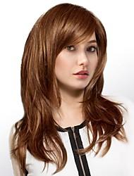 Недорогие -Человеческие волосы без парики Натуральные волосы Естественные волны Боковая часть Длинные Машинное плетение Парик Жен.