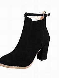 baratos -Mulheres Sapatos Camurça Inverno Coturnos Botas Salto Robusto Botas Curtas / Ankle Gliter com Brilho / Presilha Preto / Bege