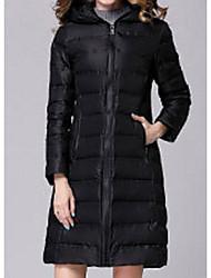 Dámské Dlouhé Dlouhý kabát Jednoduchý Šik ven Jdeme ven Jednobarevné-Kabát Bavlna Šetrný k životnímu prostředí Polyester Dlouhý rukáv