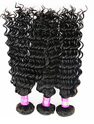 cheap -Indian Hair Deep Wave Virgin Human Hair Natural Color Hair Weaves 3 Bundles Human Hair Weaves Natural Black Human Hair Extensions
