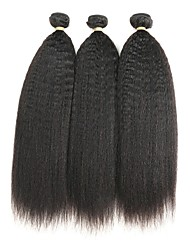 cheap -Indian Hair Remy Human Hair kinky Straight Human Hair Weaves 3pcs Natural Color Hair Weaves