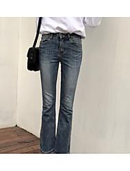 economico -Da donna A vita alta Vintage Moda città Media elasticità A zampa Jeans Pantaloni,Tinta unita Cotone Per tutte le stagioni