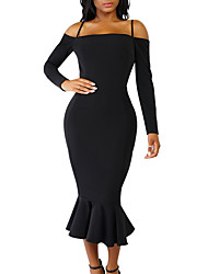 Women's Going out Casual/Daily Simple Sexy Bodycon DressSolid Strap Full-Length Long Sleeves Polyester Summer Fall Mid Rise Micro-elastic
