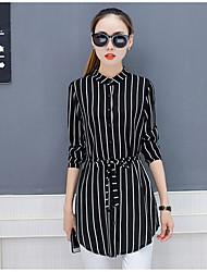 cheap -Women's Work Street chic Cotton Shirt - Striped Shirt Collar