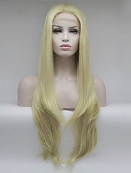 cheap -Women Synthetic Wig Lace Front Medium Length Long Light Blonde Natural Wigs Costume Wig