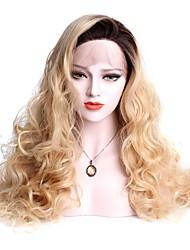 abordables -Peluca Lace Front Sintéticas Ondulado Grande Rubio Con mechones Pelo sintético Rubio Peluca Mujer Larga Encaje Frontal