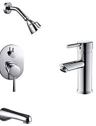 cheap -Comtemporary Tub And Shower Rain Shower Wall Mount Ceramic Valve One Hole Chrome, Faucet Set