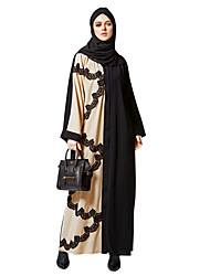 cheap -Women's Daily Wear Going out Vintage Boho Street chic Punk & Gothic Shift Swing Abaya Dress,Solid Color Block Stitching Lace V Neck Maxi