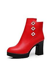 Недорогие -Жен. Обувь Искусственное волокно Зима Ботильоны Ботинки На толстом каблуке Круглый носок Ботинки Пайетки Черный / Красный