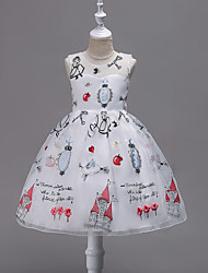 Girl's Holiday Floral Dress,Polyester Sleeveless Cute Cartoon Princess Blue White Red Blushing Pink Purple