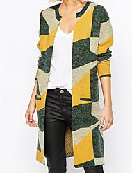 cheap -Women's Long Sleeves Long Cardigan - Color Block Peter Pan Collar