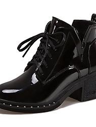 baratos -Mulheres Sapatos Couro Envernizado Inverno Coturnos Botas Ponta Redonda Botas Cano Médio para Preto