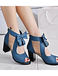 cheap -Women's Shoes Nubuck leather Spring / Fall Basic Pump Sandals Bowknot for Black / Blue