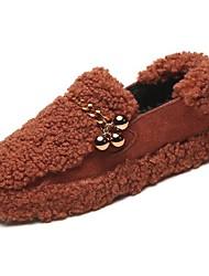 Femme Chaussures Gomme Hiver Confort Mocassins et Chaussons+D6148 Bout rond Pour Noir Marron Vert
