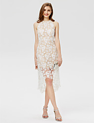 cheap -Sheath / Column Jewel Neck Asymmetrical Lace Cocktail Party Dress with Lace by TS Couture®