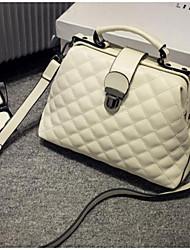 preiswerte -Damen Taschen PU Schultertasche Knöpfe für Normal Ganzjährig Weiß Schwarz Rote