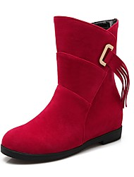 Women's Shoes Nubuck leather Spring Fall Comfort Snow Boots Boots Round Toe Mid-Calf Boots Tassel(s) For Casual Red Beige Black