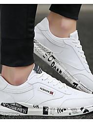 Herren Schuhe PU Frühling Herbst Komfort Sneakers Für Normal Weiß Schwarz Grau
